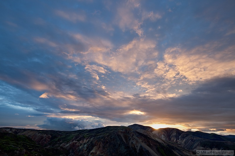 Sunset view from Brennisteinsalda, Landmannalaugar, Iceland