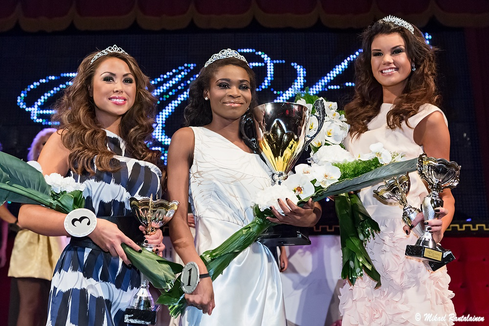 1st runner up Leina Ogihara, Miss Helsinki Kelly Kalonji, and 2nd runner up Iina Immonen, Apollo Live Club, Helsinki, Finland