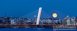 Full moon, Crusell bridge, Helsinki, Finland